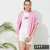 【JEEP】女裝 簡約休閒格紋短袖襯衫-粉