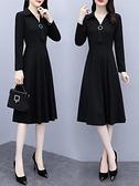 媽媽洋裝長袖連身裙秋裝2021年新款女媽媽小個子氣質收腰顯瘦修身打底裙子  雲朵 上新