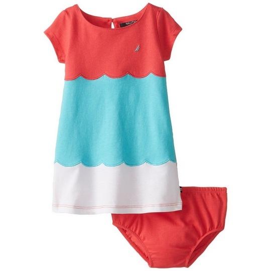 【北投之家】女寶寶洋裝二件組 短袖拼接裙子+內褲 玫瑰珊瑚 | Nautica童裝 (嬰幼兒/兒童/小孩)