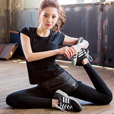 瑜珈套裝 韓國高腰彈力健身戶外跑步【Ann梨花安】