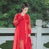 洋裝 再續漢唐春秋季漢服婚服女雪紡紅色新娘裝敬酒服改良古裝套裝 綠光森林