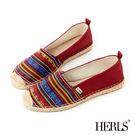 休閒鞋-HERLS 愜意午後帆布麻編鞋-民族風