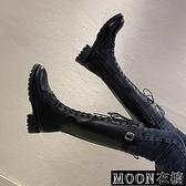 長靴女 騎士靴女系帶高筒靴秋冬季新款中跟女鞋長筒網紅Ins瘦瘦靴子 快速出貨
