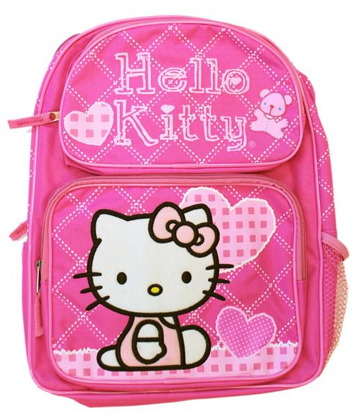 【卡漫城】 Hello Kitty 後背包 粉菱格愛心 ㊣版 書包 美國版 外出包 A4尺寸 女童 凱蒂貓 雙肩包