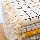 桌布簡約北歐桌布棉麻格子茶幾布餐桌布藝小清新長正方形花邊桌布 春季特賣