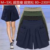 短褲胖mm超大碼顯瘦短褲女夏季新款加肥加大寬鬆寬管褲百搭200斤褲裙 一米陽光