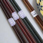 全館超增點大放送藍蓮花進口筷子木質實木家用日式尖頭高檔家庭復古餐具個性防滑