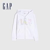 Gap女童 碳素軟磨系列 Logo法式圈織棉質連帽外套 810931-白色