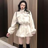 2019秋冬季新款韓版寬鬆法式小香風中長款加厚羊羔毛絨外套女歐韓時代