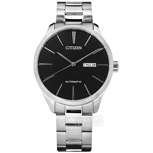 CITIZEN 星辰表 / NH8350-83E / 簡約紳士 機械錶 自動上鍊 星期日期 不鏽鋼手錶 黑色 40mm