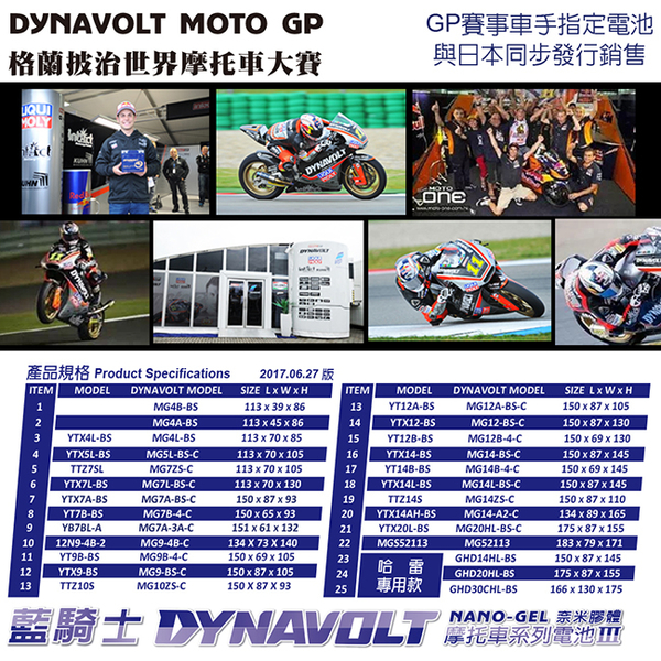 【DYNAVOLT 藍騎士】MG12AL-A2 機車電瓶電池(12V)