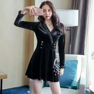 VK精品服飾 韓系名媛雙排扣顯瘦高腰絲絨長袖洋裝