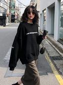 棉麻上衣外套  字母印花寬鬆圓領套頭衛衣女長袖秋季新款韓版上衣    都市時尚