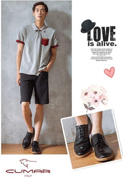 CUMAR 超輕舒適 舒適寬楦簡約皮鞋-黑色
