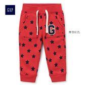 Gap男嬰兒 星星印花鬆緊腰舒適長褲 402647-摩登紅色