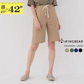 休閒褲--綁帶鬆緊褲頭兩側大口袋素面直筒五分褲(黑.藍.綠.卡其L-4L)-R247眼圈熊中大尺碼