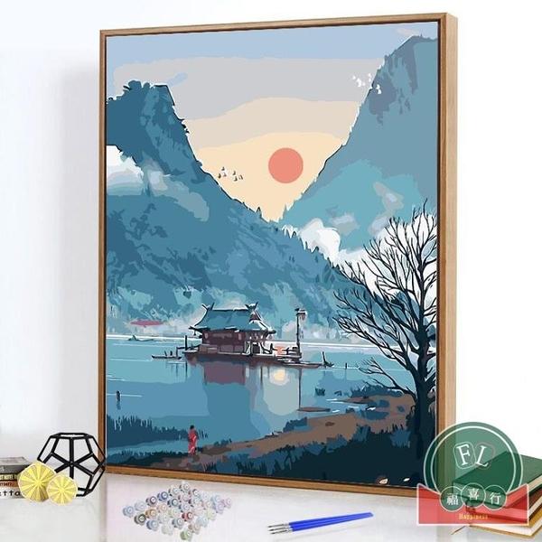 diy數字油畫風景成人減壓填色手繪涂色畫油畫【福喜行】
