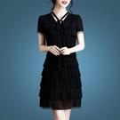 夏季洋裝女2021新款時尚修身遮肚夏天流行雪紡裙子v領短袖 快速出貨