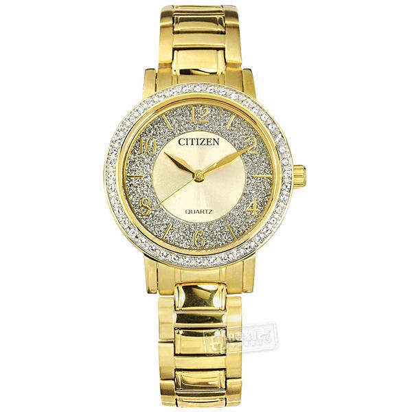 CITIZEN 星辰表 / EL3042-50P / 璀璨星砂 耀眼晶鑽 礦石強化玻璃 不鏽鋼手錶 鍍金 31mm