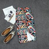 夏季新款名族風包臀中長款過膝後開叉修身顯瘦半身裙子   LannaS