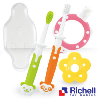 Richell日本利其爾 乳牙訓練牙刷(套組 3-12個月以上用)