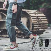 【OBIYUAN】素面長褲 翻蓋 大口袋 寬鬆 剪裁 休閒褲 工作褲 共2色【Y0612】