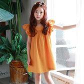 *╮S13小衣衫╭*中大童波浪荷葉袖橙色連身裙 1060209