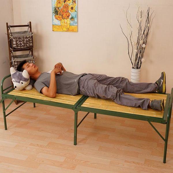 折疊床單人簡易辦公室午休床行軍成人午睡床加固竹板雙人床陪護床【onecity】