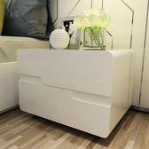 床頭櫃簡約現代白色歐式亮光鋼琴烤漆簡易臥室抽屜床邊櫃整裝 igo CY潮流站