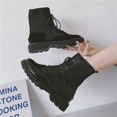 短靴 馬丁靴女英倫風2020新款學生百搭厚底透氣機車靴子女短靴網紅單靴
