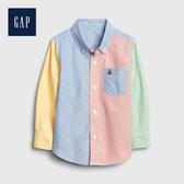 Gap 男幼童 時尚撞色角扣翻領襯衫 546034-撞色