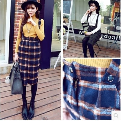 【AU6】秋季新款時尚氣質格子開叉毛呢背帶裙包臀修身顯瘦百搭中長裙