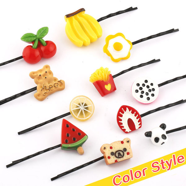 【TT105】可愛發飾櫻桃一字夾日韓版原宿發卡草莓發夾邊夾水果檸檬飾品頭飾