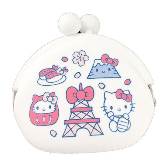 小禮堂 Hello Kitty 矽膠口金零錢包 口金包 耳機包 小物收納包 p+g design (白 東京圖示) 4582406-78184