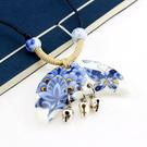 月牙青花瓷 複古蝴蝶 項鏈 民族風 宮廷 陶瓷飾品