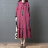 洋裝 連身裙 秋裝新款正韓寬鬆大碼女裝下擺拼接棉麻襯衫裙氣質顯瘦洋裝