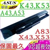 ASUS電池(保固最久/9芯)-華碩 A43JV,A43S,A43SJ,A43SV,A43U,A53B,A53BY,A53E,A53F,A53J,A43EI241SV-SL