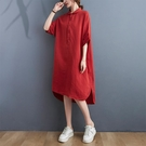 夏季2021新款中長款襯衫裙女裝寬鬆大碼...