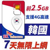 【TPHONE上網專家】韓國 7天無限上網卡 前2.5GB高速 支援4G 使用SK最大電信 隨插即用