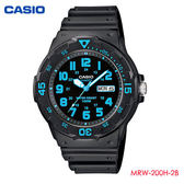 CASIO 藍色數字防水膠帶錶 MRW-200H-2B 學生錶 當兵軍用 公司貨   名人鐘錶