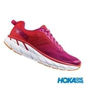 【線上體育】 HOKA ONE ONE女 Clifton 6 寬楦 超緩震跑鞋 罌粟紅/仙人掌花紫