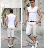 男士背心男夏季純棉青年透氣無袖T恤健身運動寬肩 俏腳丫