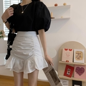 百褶短裙 魚尾裙半身裙女春夏季2020新款大碼胖mm學生高腰包臀A字百褶短裙