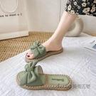 沙灘花朵涼拖鞋女外出夏天外穿時尚蝴蝶結ins潮2020新款冬季涼鞋 安雅家居館
