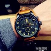 韓國大錶盤潮男皮帶手錶男學生時尚潮流休閒防水時裝錶