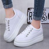 ZUCAS~(GG-1325)皮面內增高8cm小白鞋女2019春季百搭韓版水鑽扣厚底帆布鞋