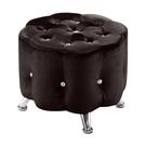 【森可家居】花朵黑色小椅凳 8ZX558-11 沙發椅凳 絨布 水鑽