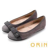 ORIN 耀眼甜美 鞋頭燙鑽真皮平底娃娃鞋-灰色