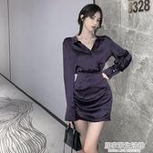 2020年秋季新款爆款性感氣質女神范修身顯瘦包臀長袖襯衫洋裝潮 中秋節全館免運