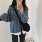 韓系女裝 復古色系刷毛長袖大學T【C0961】